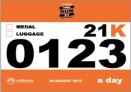 HUMAN RUN 2015 BIB NUMBER 21km